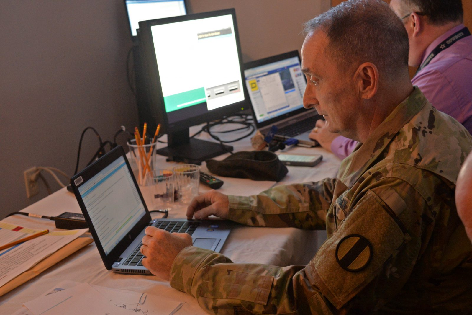 Sgt. Maj. David Davenport invited Soldiers to engage with panelists via Twitter