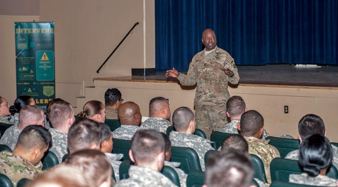 Command Sgt. Maj. Terry Gardner speaks to U.S. Army Alaska noncommissioned officers during the SHARP NCO Summit Jan. 11 at Joint Base Elmendorf-Richardson, Alaska. The summit was the first of its kind held here for USARAK NCOs.