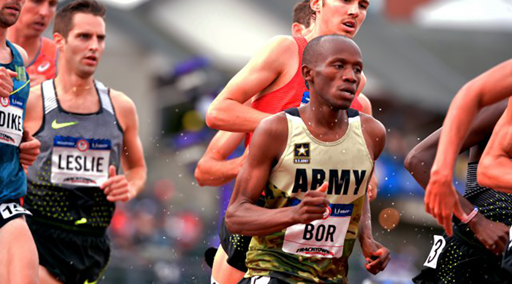 Sgt. Hillary Bor runs the 3,000-meter steeplechase July 8 at the 2016 U.S. Olympic Track and Field Trials in Eugene, Oregon. Bor finished second to earn a spot in the Rio Olympics. He has reached the finals of the 3,000-meter steeplechase, which will be run Wednesday (Tim Hipps / Army News Service)