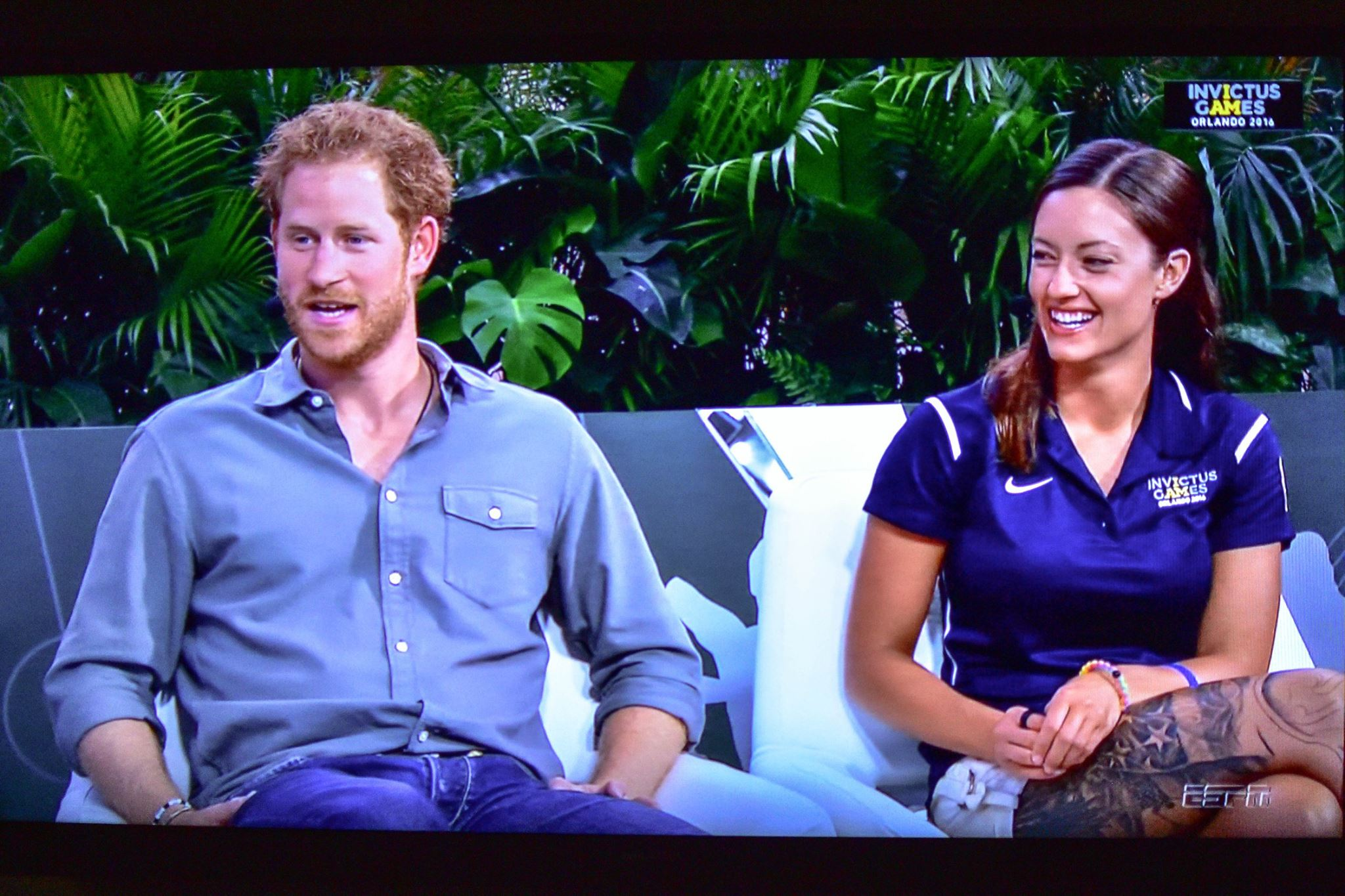 U.S. Army Sgt. Elizabeth Marks, right, appears with Prince Harry on an ESPN broadcast discussing the 2016 Invictus Games. Marks made international headlines Wednesday after asking the British royal to give one of her gold medals to the English hospital staff that saved her life two years ago. (Photo courtesy of the U.S. Army World Class Athlete Program)