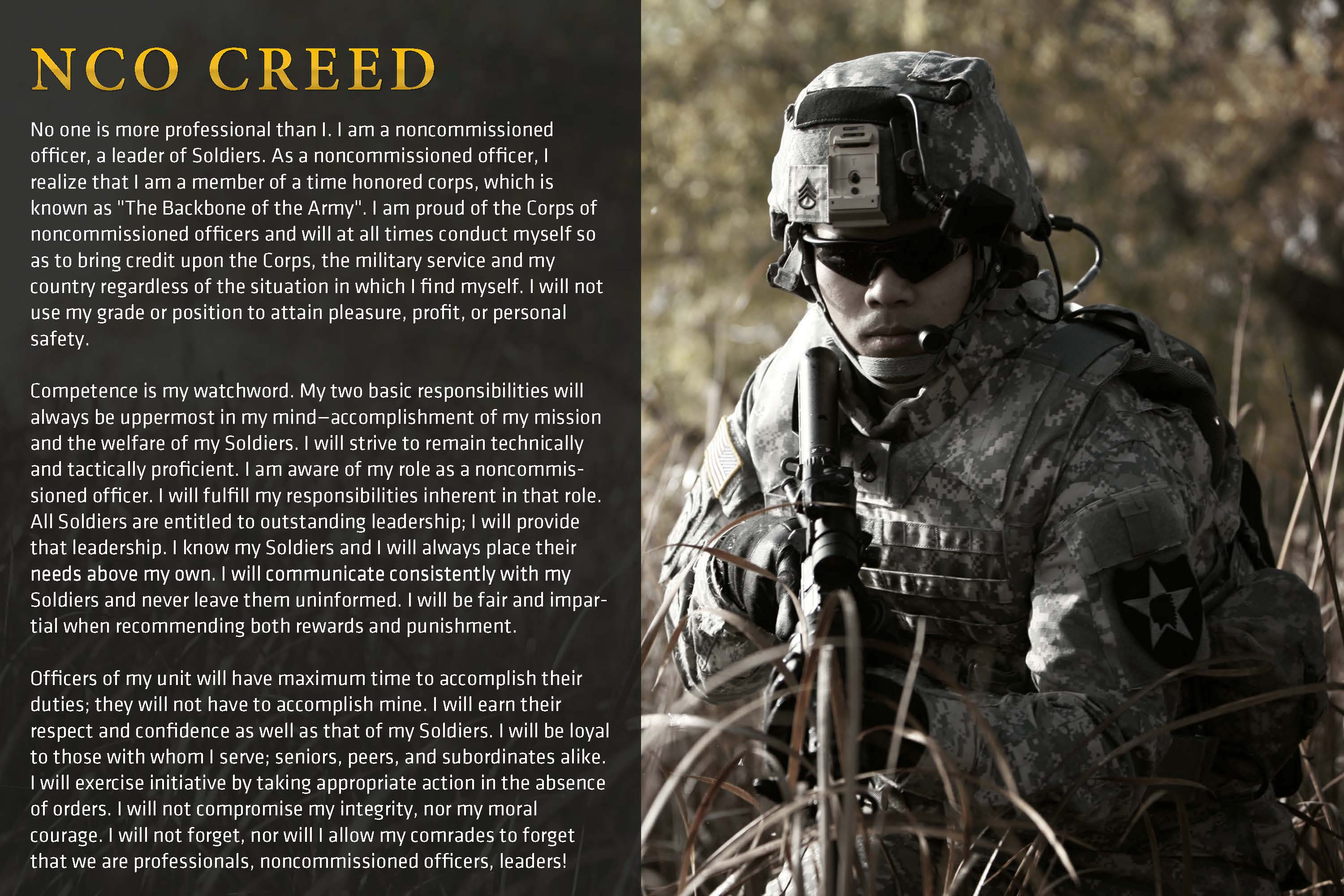 History of the Creed of the Noncommissioned Officer.