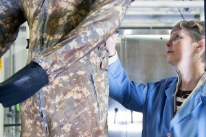 A scientist from the U.S. Army Natick Soldier Research, Development and Engineering Center tests uniforms for burn injury protection at the Doriot Climatic Chambers in Natick, Mass. (Photo courtesy of Natick Soldier Research, Development and Engineering Center / U.S. Army)