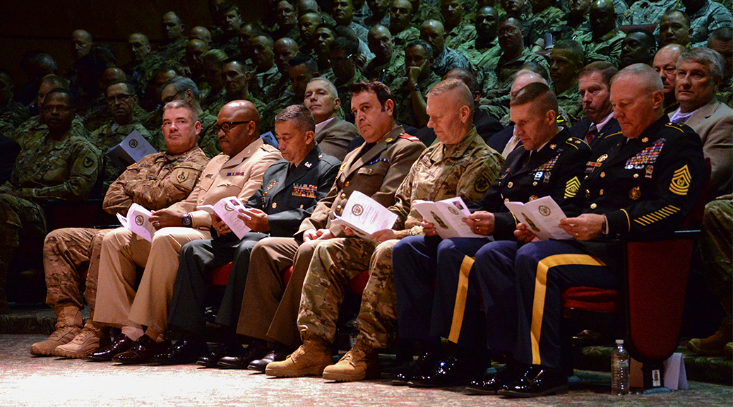 Inductees into the International Students Hall of Fame wait to be announced April 12 during opening-day ceremonies of the 2016 International Training and Leader Development Symposium at Fort Bliss, Texas. (Photo by Spc. James Seals / NCO Journal)