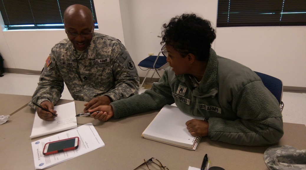 Sgt. 1st Class Alan McCoy, staff administrative assistant with A Company, 94th Combat Support Hospital, and Staff Sgt. Tonya O'Connell, mental health tech with 176th Medical Brigade, practice public affairs skills in Seagoville, Texas. All NCOs will be required to improve their writing skills under TRADOC's education plans. (Photo by Staff Sgt. Kai L. Jensen)