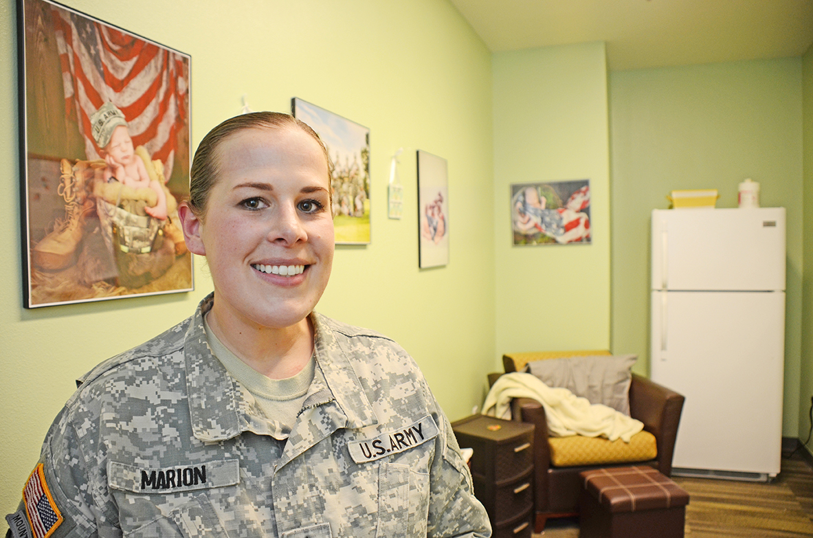 The breastfeeding policy at Fort Bliss, Texas, was created by Staff Sgt. Amanda Marion, then the 1st Armored Division Medical NCO and the Pregnancy and Postpartum Physical Training (P3T) Program NCOIC. She also created a lactation room at the 1st Armored Division headquarters building, and went above and beyond to make sure the room is comfortable and relaxing for breastfeeding Soldiers. (Photo by Meghan Portillo / NCO Journal)
