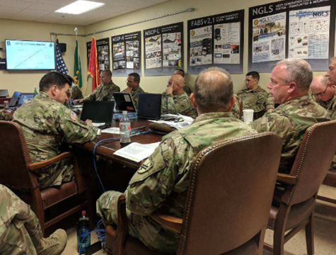 Brig. Gen. Richard K. Sele (far right), deputy commanding general, U.S. Army Civil Affairs and Psychological Operations Command (Airborne), receives a yearly training strategy brief from the 7th PSYOP Group. (U.S. Army photo by 1st Lt. David W. Cline)