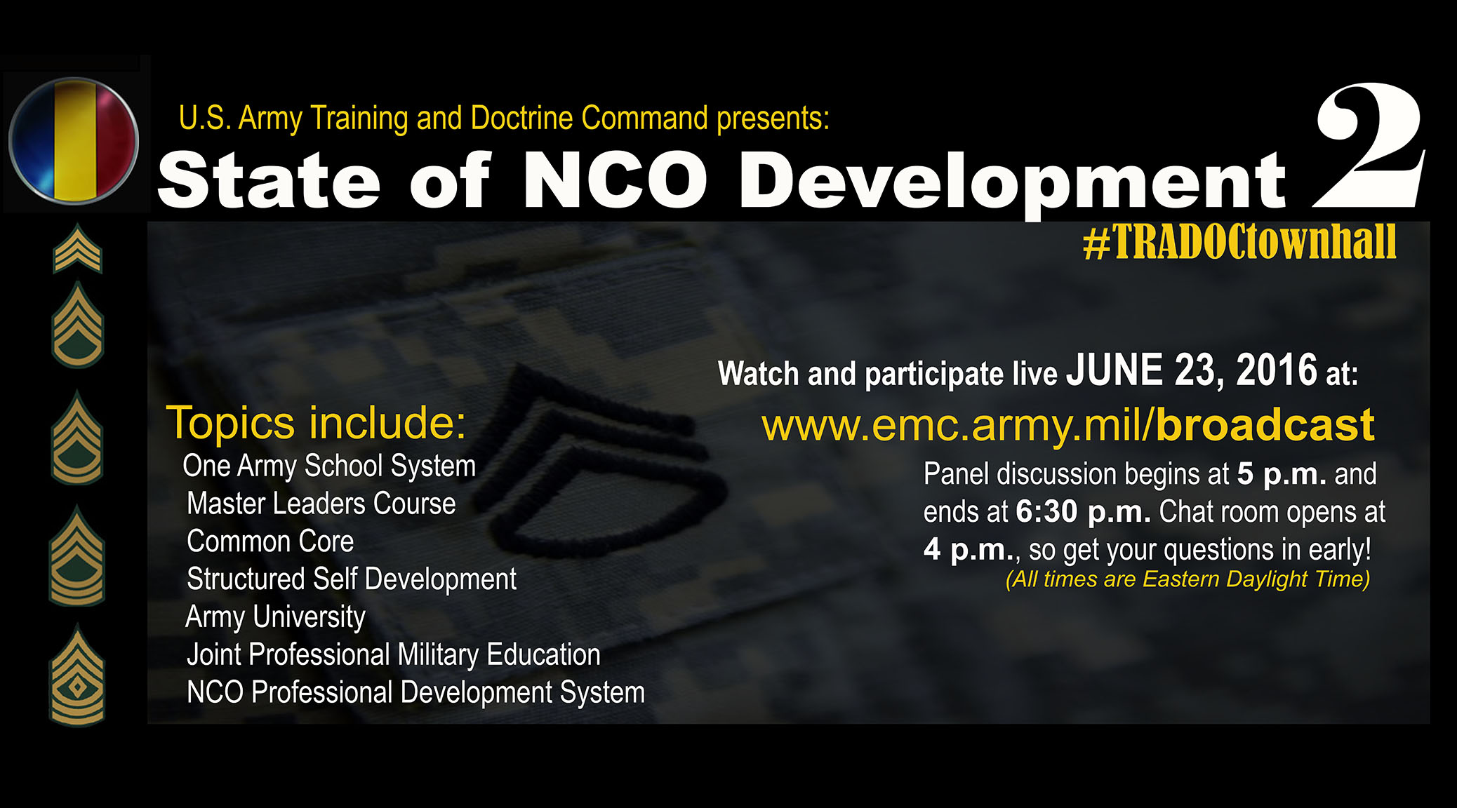 State of NCO Development Town Hall 2 Will Focus on Leader Development