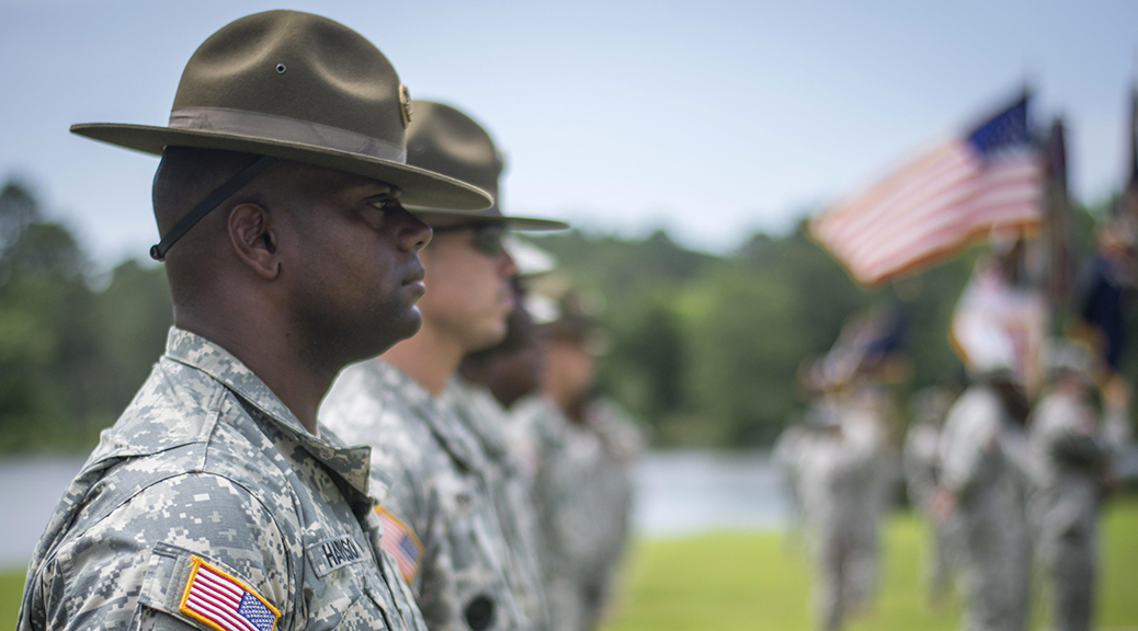 U.S. Army Reserve drill sergeants with the 108th Training Command stand at attention during a change of command ceremony at Fort Jackson, South Carolina, June 13, 2015. (Photo by Sgt. Ken Scar / U.S. Army)