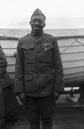 Sgt. Henry Johnson, of the 369th Infantry Regiment, was awarded the French Croix de Guerre avec Palme on Feb. 12, 1919, for bravery during a battle with German soldiers the previous year. (Photo courtesy of Army News Service)