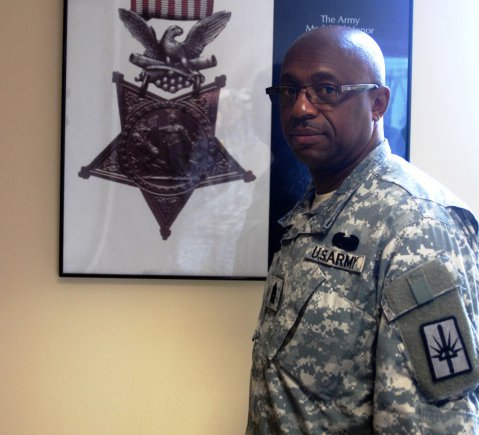 New York Army National Guard Command Sgt. Maj. Louis Wilson will represent Sgt. Henry Johnson, a World War I Soldier, scheduled to receive a posthumous Medal of Honor on Tuesday during a White House ceremony. (Photo by Master Sgt. Corine Lombardo / Army News Service)