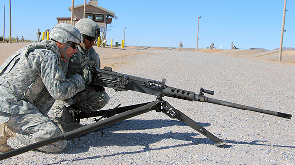 Soldiers train on an M2A1 .50 Caliber Machine Gun mounted on an M205 Lightweight Tripod in May 2014 at Fort Bliss, Texas. PEO Soldier's NCOs are assigned to gather feedback from Soldiers who train on new equipment. (U.S. Army photo)