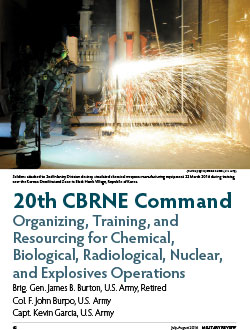 20th CBRNE Command Organizing, Training, and Resourcing for Chemical, Biological, Radiological, Nuclear, and Explosives Operations
